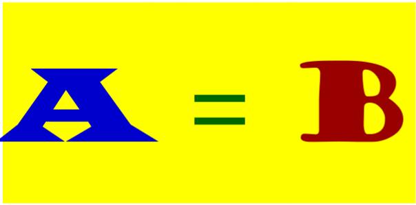 A equals B
